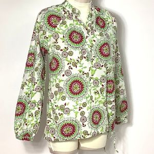 Gap Top Blouse Henley Boho Floral Green Red S